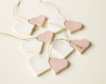 Guest Favors, Ceramic Heart , 5 pieces, Heart Ornament, Wedding Party Favors, Guest Gift, Hanging Ornaments, Ceramics and Pottery