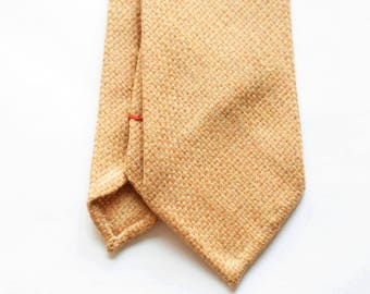 Gold wool hand rolled untipped tie