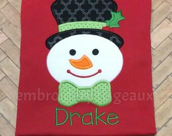 Personalized Snazzy Snowman Boy's T-shirt or Baby Bodysuit, Boys Christmas Shirt, Snowman Shirt, Christmas Shirt for Boys