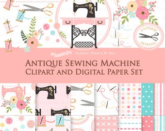 20% off Antique Sewing Machine / Vintage Sewing Machine Clip Art + Digital Paper Set  - Instant Download