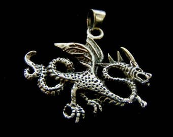 Vintage Estate .925 Sterling Silver Chinese Dragon Pendant 6.3g #E995