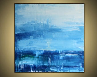Large OIL  Acrylic Painting on Canvas 36x36 inchers Shades of blue  Gray  Beautiful skay