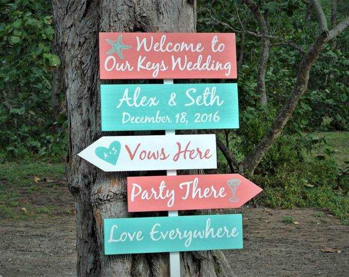 Welcome Wedding destination sign. Beach Wedding Decor. Vows here Party there Love everywhere. Garden wedding directional sign