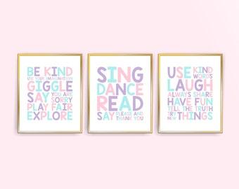 Printable Girl Playroom rules wall art playroom wall decor Nursery wall Art Prints Pale Aqua Purple Pink Playroom rules (518set810)(CC051)