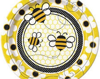 Sweet Bumble Bee Lunch plates  (8/ Pack) Bumble bee party / Bumble bee theme / Bumblebee /