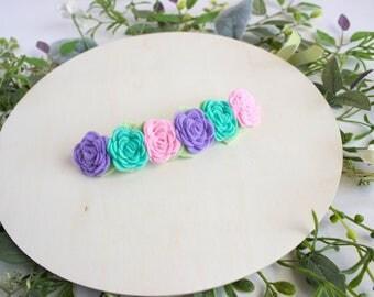 Felt Flower Crown, Neutral Headband, Toddler headband, baby headband, Spring Summer Flower Crown