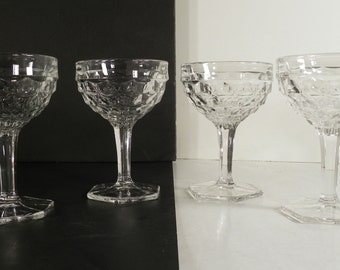 Fostoria American Tall Sherbet Champagne Goblet LOT OF 4 Hex Foot Crystal Glass