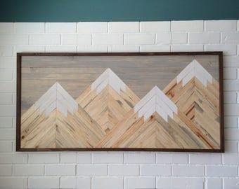 Large Wooden Moutain Scene, Natrual Blue Pine Wooden Art