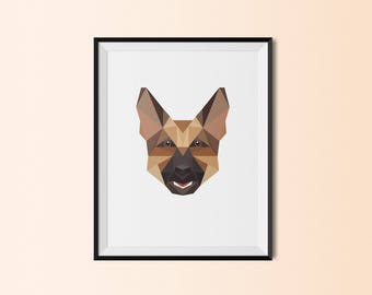 German Shepherd Portrait | German Shepherd Art Print | German Shepherd Custom Print | German Shepherd Geometric Art | German Shepherd