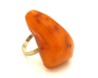 Amber Baltic Ring Antique Genuine 4.88 Gr Honey Egg Yolk Color (FG094)