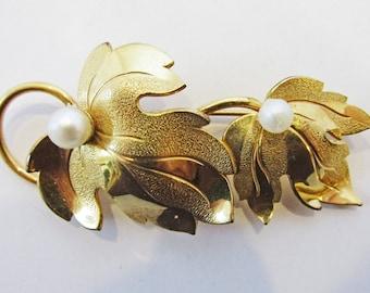 Timeless Vintage 1950s Signed Forstner Gold Filled Faux Pearl Leaf Pin