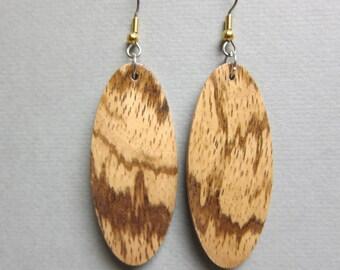 Uniue Exotic Wood Earrings handcrafted drop oval ExoticwoodJewelryAnd ecofriendly organic