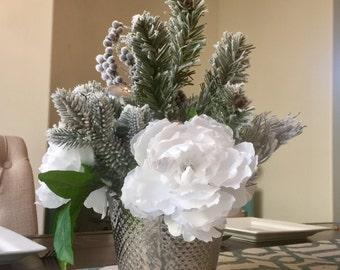 Christmas Decorations, Christmas Centerpiece, White Christmas Centerpiece,  Silver Vase Centerpiece