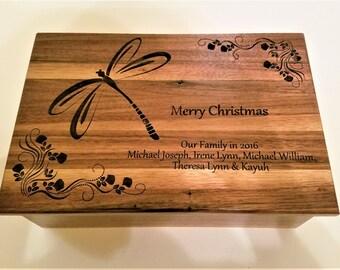 Custom Personalized Keep Sake Box,12x8x4  Engraved Memory Wood Box, Wedding Card Box, Dragon Fly Memory Box, Laser Engraved Keepsake Box