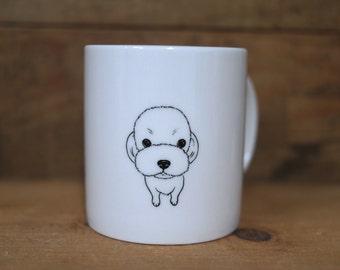 Hand painted animal mug cup - Cute mug cup - Maltese dog mug cup
