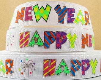 "7/8"" Happy New Year grosgrain ribbon"