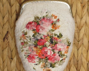 Small Purse, Roses on White, Felted Cosmetic Bag, Makeup Bag, Wool Bag