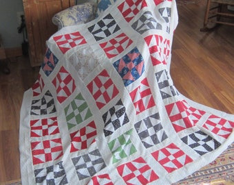 Very Charming Antique Churn Dash Quilt Top 67X69""