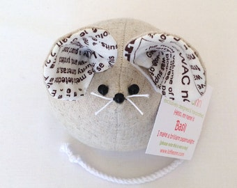 Basil! Cute Mouse Paperweight, Fabric Ornament, Personalised Gift, Novelty Gift