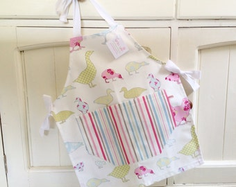 Pastel Ducks, Geese & Hens Child's Apron, Child's Apron