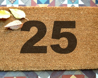 door mat  House Number engraved coir door mat  Any font Size: 400 x 600 mm   UK Based