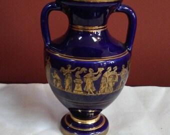 Vintage Greek Grecian Urn  vase by Neofitoy keramik 1970s, Cobalt Blue Porcelain Urn Style Vase with Greek Mythology Figures in 24 Kt Gold