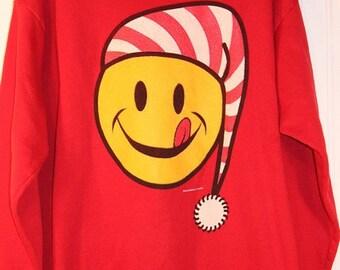 Rare Vintage 1995 Ugly Christmas Sweatshirt Smiley Face Size XL