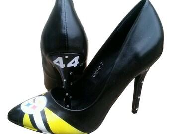 Football Heels / Airbrush Heels / Custom Decoupage Heels / Steelers' Heels / Swarovski Crystal Pumps / Football Pumps / Mixed Media Pumps