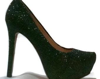 Glitter Heels / Black Iridescent Glitter Pumps / Women's Shoes / Deep Envy Heels / Women's Pumps / Black Glitter Heels / Wedding Shoes