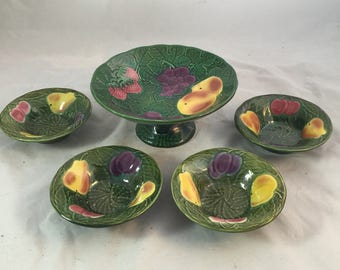 Vintage Majolica Fruit Compote and Four Bowls From France