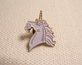 Vintage 80s White Enamel Unicorn Pin / Button / Badge