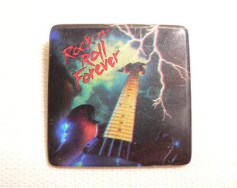 Vintage 80s Rock n' Roll Forever Lightning Guitar Pin / Button / Badge (Date Stamped 1985)