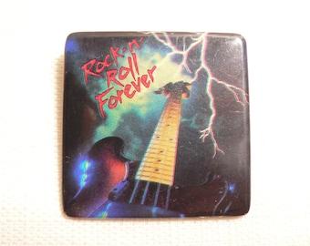 Vintage 80s Rock n' Roll Forever Lightning Guitar Pin / Button / Badge (Date Stamped 1985)