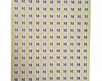 "M"" Adhesive Sticker Clothes Label 1 SHEET of 132 Stickers 100710"