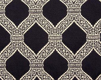 Black and White - Lattice Work - Palm Beach Style - Brenda - Matelasse -  Upholstery Fabric By The Yard
