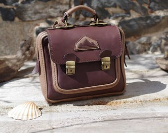 little backpack , satchel , breifcase brown leather