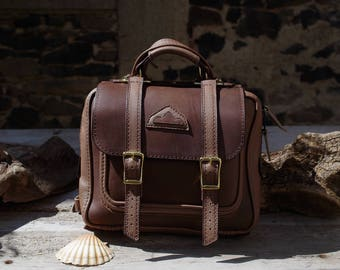 Briefcase, backpack, taupe leather briefcase