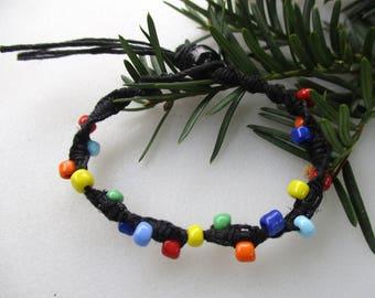 Hemp Bracelet, Hemp Anklet, Hemp Ankle Bracelet, Unisex Hemp Jewelry, Macrame, Beaded Hemp, Multicolor