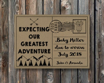 PRINTABLE Pregnancy Announcement Card Sign–Rustic Kraft Pregnancy Announcement Card–Pregnancy Reveal Card-Our Greatest Adventure Baby-PA22