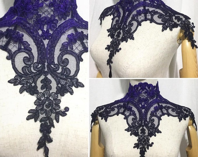 Ombre Gothic Victorian Lace Necklace with back laces and bead luxury lace