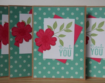 4 Thank You Cards. Pink Flower Thank You Cards.  Blank Thank You Card. Handmade Greeting Cards.