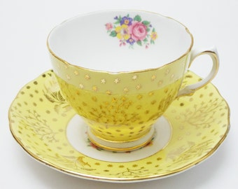 Colclough Yellow Gold Chintz Flowers Tea Cup and Saucer Fine Bone China Made in England 13