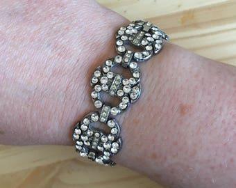 Art Deco Bracelet: Vintage Clear Diamanté Art Deco Bridal Costume Bracelet