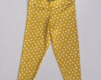 SALE! Organic Toddler Leggings - Mustard Spots - Yellow Polka Dot Pants - Preschool Girls
