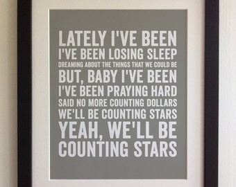 FRAMED Lyrics Print - OneRepublic, Counting Stars - 20 Colours options, Black/White Frame, Wedding, Anniversary, Valentines, Picture Gift