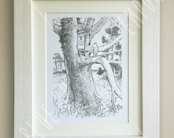 Winnie the Pooh PRINT, Black and White, Birth, Christening, Nursery Picture Gift, Pooh Bear, *UNFRAMED* Beautiful Gift, Friends, Piglet