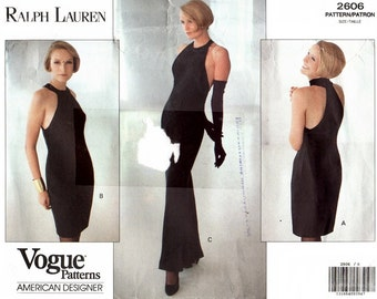 Vogue 2606 Bombshell Wiggle Dress with Cut in Shoulders / 1990 SZ6-10 UNCUT