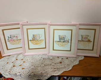 Shabby chic pink pictures of cups and lace. Free shipping!           Item# 1112163