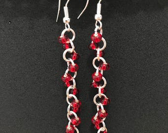 """No.13 """"Ruby"""" Earrings (Platinum Plated)"""