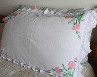 Vintage floral hand embroidered country cottage shabby chic pillowcase